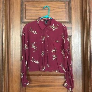 Forever 21 red button up floral shirt - size small